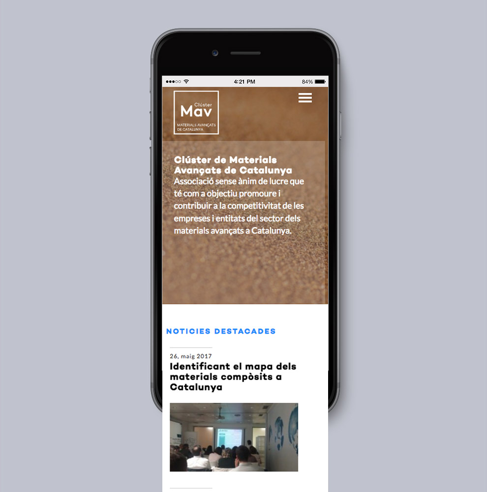 Responsive webpage for Advanced Materials Cluster Catalonia