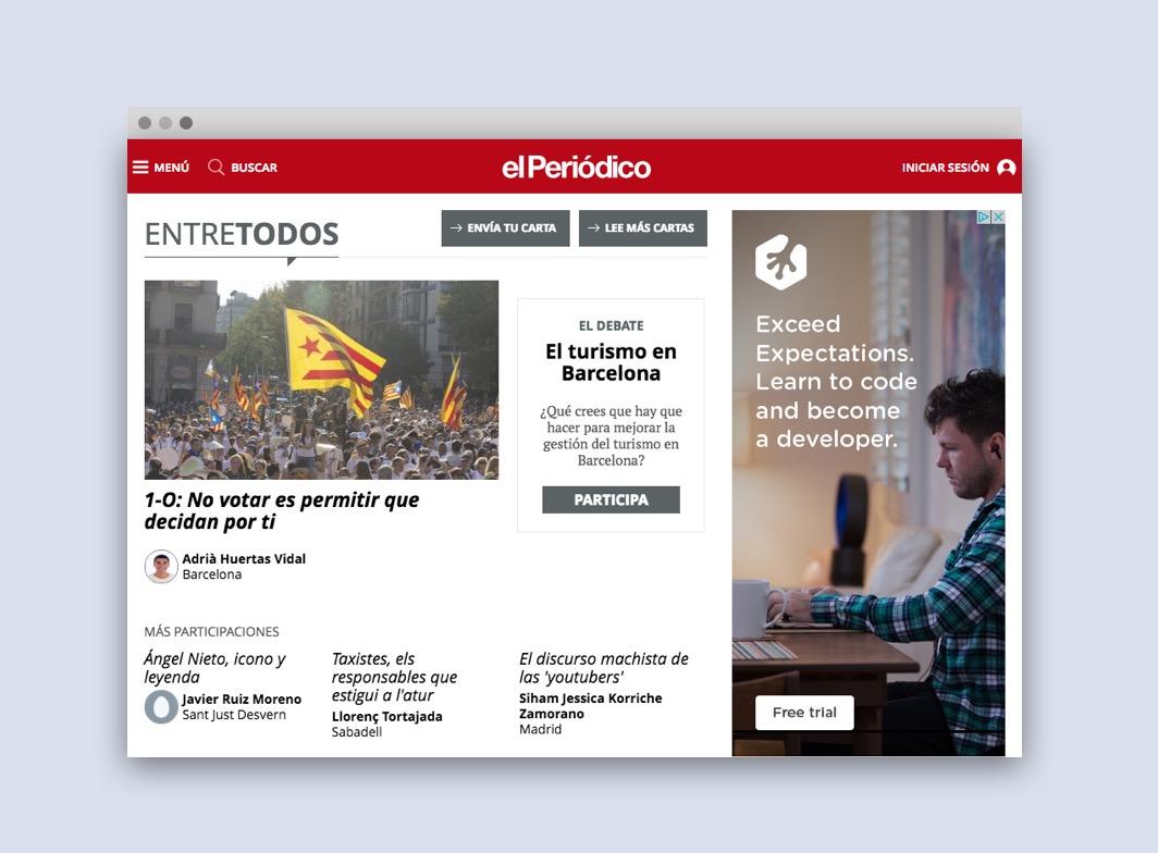 Short responsive website El Periodico