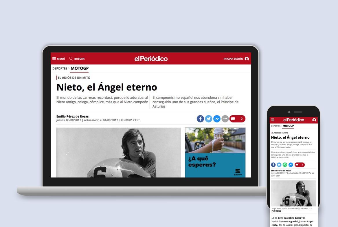 Combo of responsive layout for El Periodico de Catalunya
