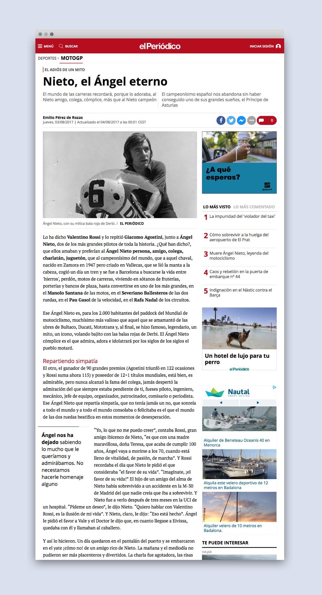 Detail of new responsive website El Periodico