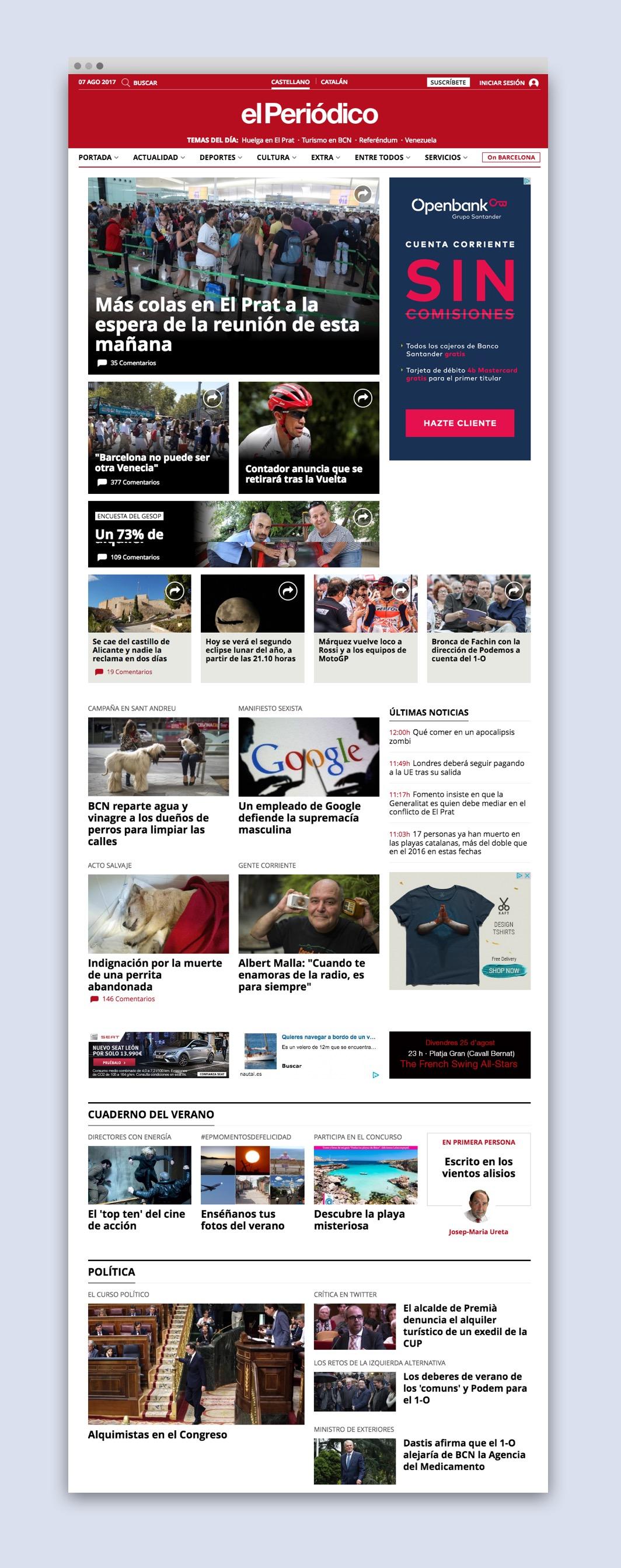 Home de la web d'El Periodico