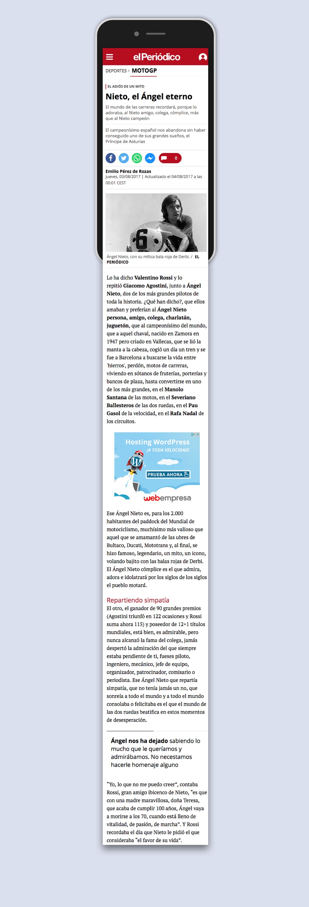 Web mobil d'El Periodico